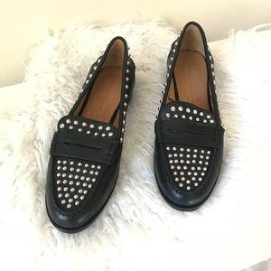 Zara Black Studded Loafers - 10